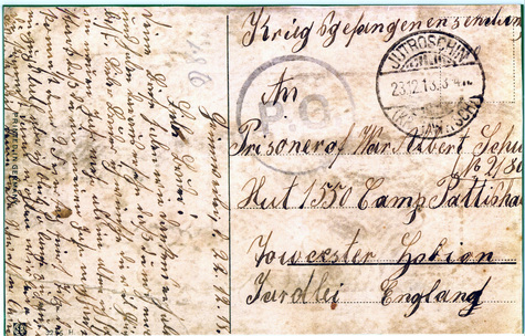 An image showing the back of the German postcard sent to Albert Schulz from his sister, Annie.